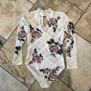 Floral Print Choker Neck Bodysuit